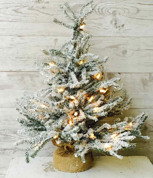 """18"""" Snowy Tabletop Pine Tree with Burlap & Clear Lights"""