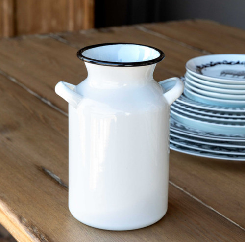 Farmhouse Enamelware Milk Can Vase or Kitchen Utensil Holder