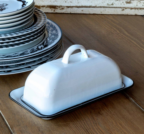 Farmhouse Enamelware Old Fashioned Butter Dish