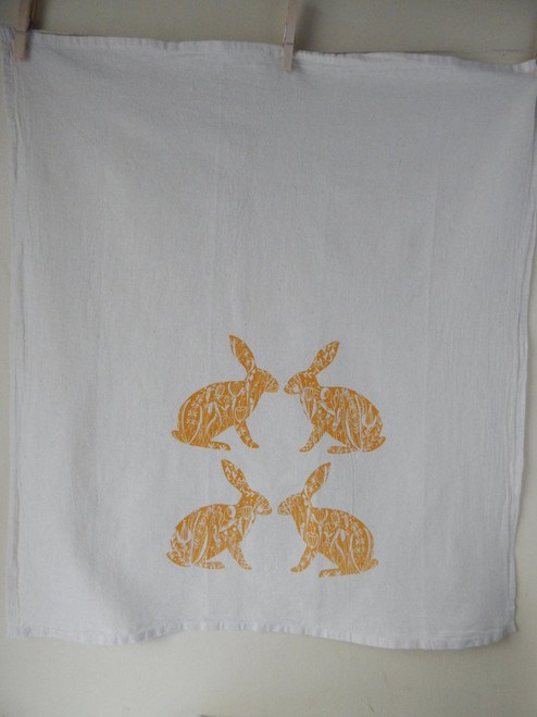 Golden Bunny Flour Sack Tea Towel