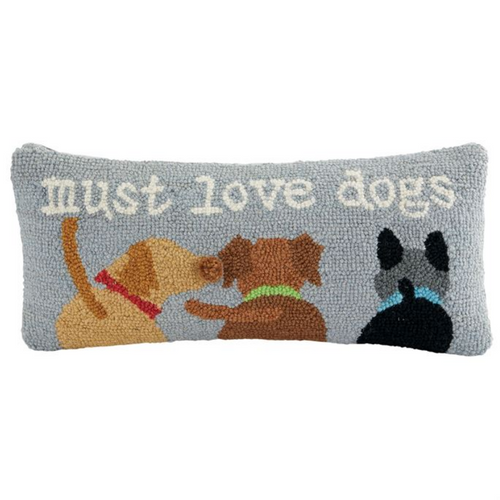 Must Love Dogs Wool Hooked Rug Accent Pillow - B