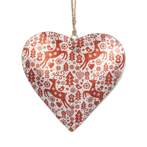 Scandinavian Nordic Style Puffy Heart Christmas Ornament - B