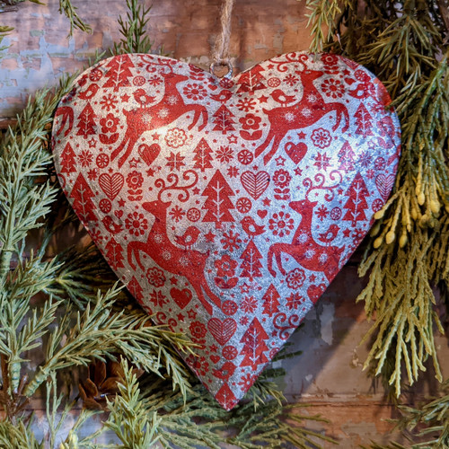 Scandinavian Nordic Style Puffy Heart Christmas Ornament - A