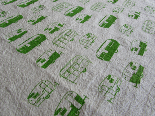 Summer Green Vintage Trailer Flour Sack Towel