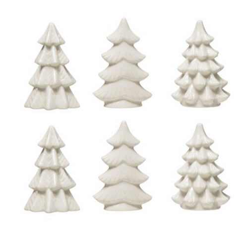 Set of Six Tiny White Ceramic Christmas Trees