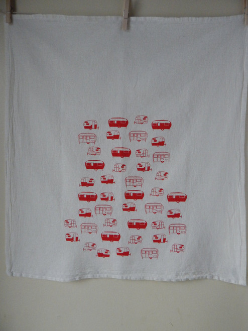 Vintage Red Travel Trailers Flour Sack Tea Towel