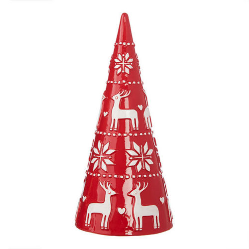 "11"" Red & White Nordic Christmas Tree with Scandinavian Icons"