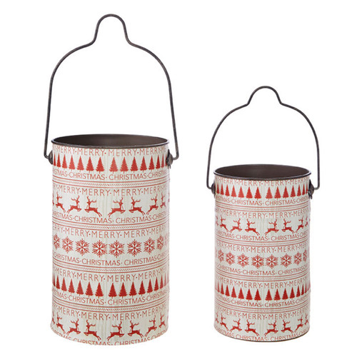 Set of Two Traditional Nordic Patterned Christmas Buckets