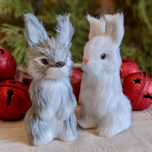 Pair of Two Standing Faux Furry Bunny Christmas Ornaments in White and Gray