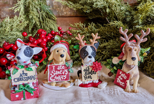 Resin Dog Ornament with Cute Saying - B