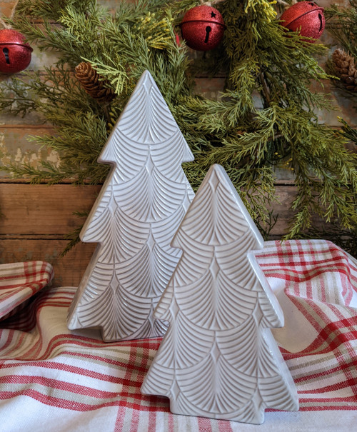 Set of Two Embossed Gray & White Porcelain Trees - A