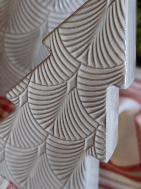 Set of Two Embossed Gray & White Porcelain Trees - B