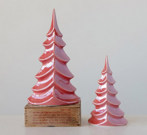 Set of Two Red Pearlized Ceramic Christmas Trees for Nordic Christmas Decor - B