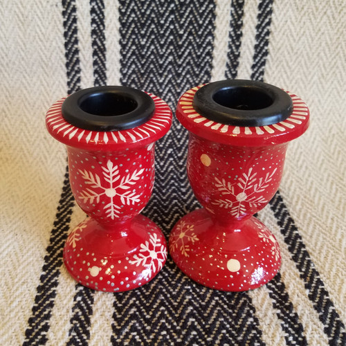 "Pair of 3"" Paper Maché Nordic Christmas Taper Holders - B"