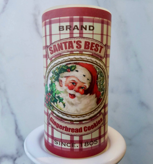 "Santa's Best Gingerbread Cookies 6"" LED Battery Pillar Candle  - A"