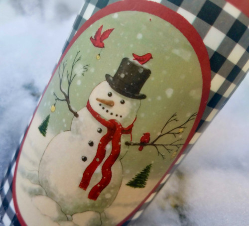 "Farmhouse Christmas 6"" Battery Pillar Candle with Snowman & Winter Birds - B"