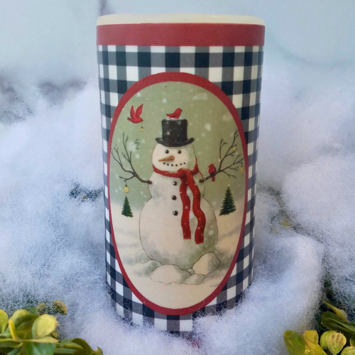 "Farmhouse Christmas 6"" Battery Pillar Candle with Snowman & Winter Cardinals -A"