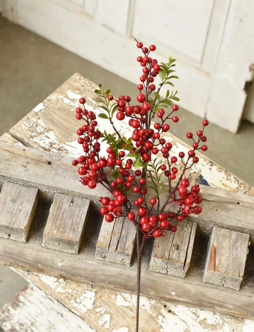 Set of 3 Waterproof Red Berry & Leaves Sprays 25""