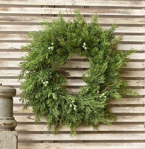 "12"" Winter Cedar Candle Ring or Farmhouse Christmas Wreath"