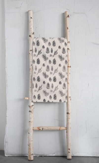 Woven Black & Cream Cotton Runner with Pine Cones - A