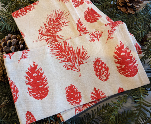 Set of Four Red and Cream Cotton Pinecone Napkins - B