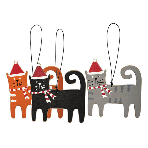 Set of Three Colorful Wooden Cat Ornaments