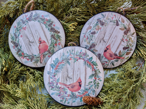 "Set of Three 6"" Cardinal Christmas Ornaments  - A"