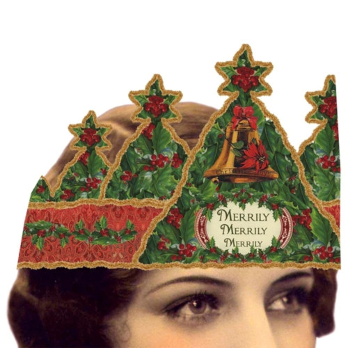 Merrily Merrily Mailable Wearable Paper Tiara Christmas Greeting Card - A