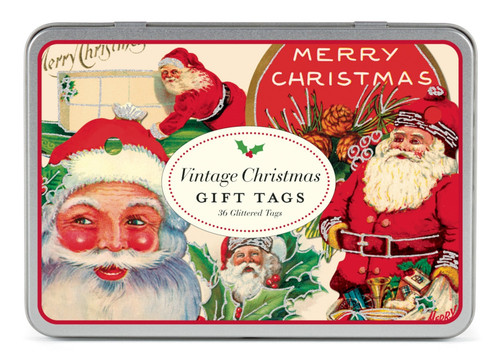 Set of 36 Old Fashioned Vintage-Style Santa Christmas Gift Tags - A