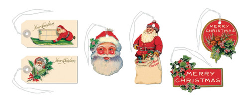 Set of 36 Old Fashioned Vintage-Style Santa Christmas Gift Tags - B