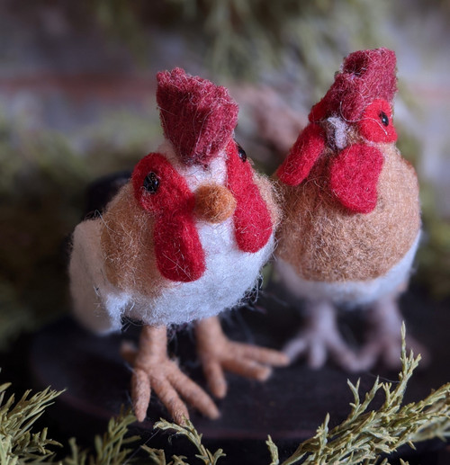 Set of Two Wool Christmas Ornaments - Hen & Rooster
