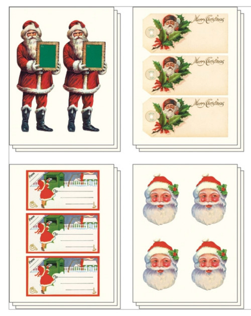 100+ Vintage-Style Christmas Stickers in Metal Tin - B