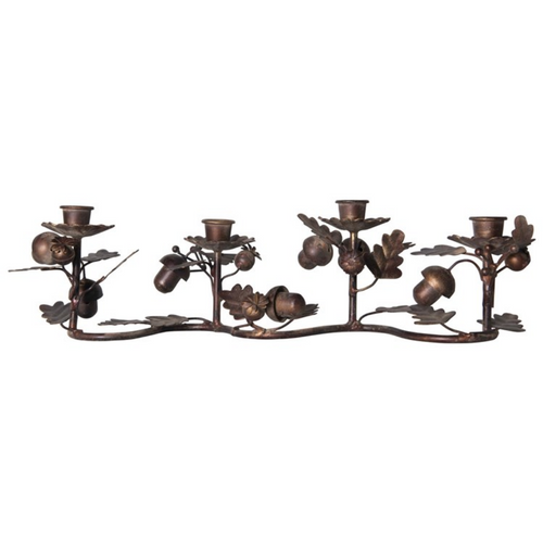 Autumnal Metal Taper Holder with Leaves & Acorns - B