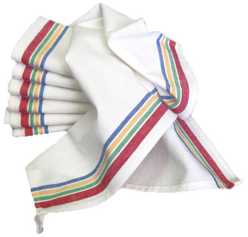 Set of 3 Vintage Style Striped Woven Farmhouse Dish Towels - B