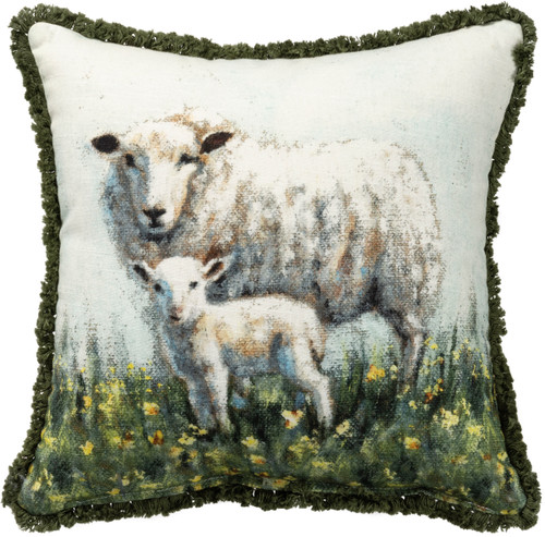 Springtime Mama Sheep & Lamb Accent Pillow - A
