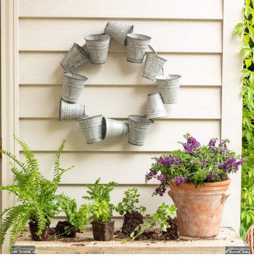 Farmhouse or Cottage Garden Bucket Wreath - A