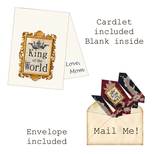 King of the World Mailable Wearable Paper Tiara Greeting Card - B