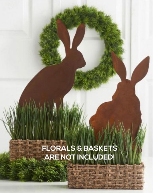 Set of Two Rusty Metal Bunny Silhouettes for Easter & Spring - A