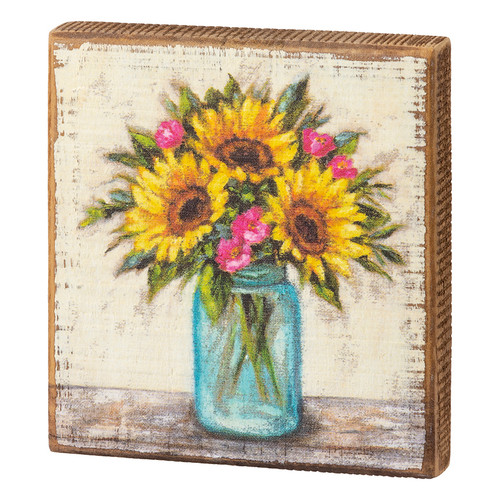 Blue Mason Jar with Sunflowers Wooden Block Sign