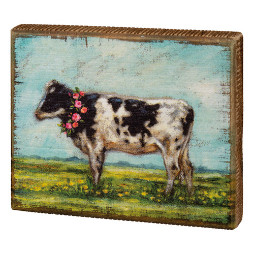 Holstein Cow with Floral Wreath Wooden Block Sign