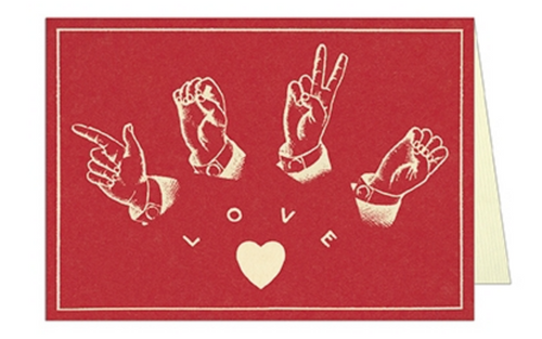 American Sign Language LOVE Valentine Card