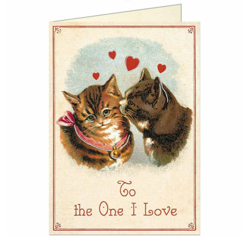 To the One I Love Kissing Kitties Valentine Card Cavallini Papers