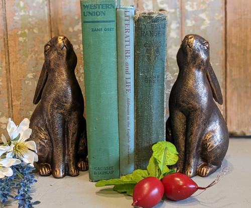 Pair of Springtime Bunny Bookends with Bronze Finish - B
