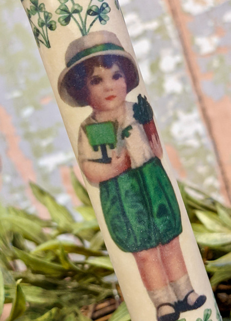 St. Patrick's Day Little Girl LED Battery Operated Taper Candle - B