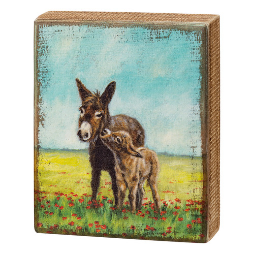 Mama Mule and Baby in a Field of Poppies Springtime Wooden Box Sign