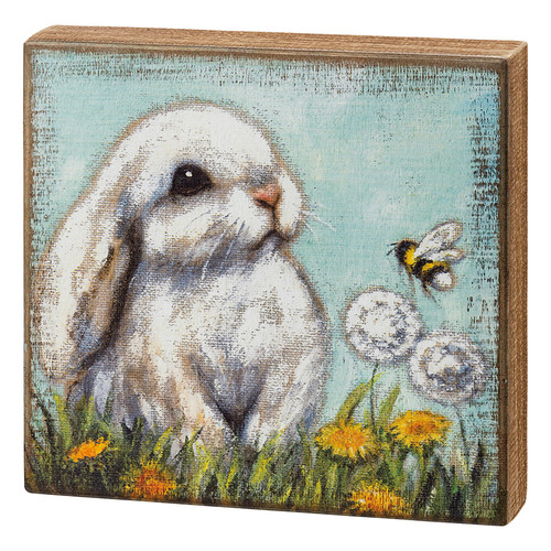 Adorable White Bunny & Honeybee Wooden Box Sign
