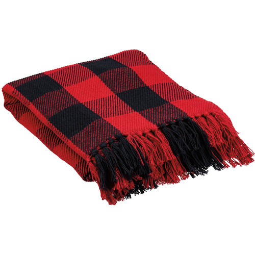 Classic Red & Black Buffalo Check Cotton Lap Blanket - B