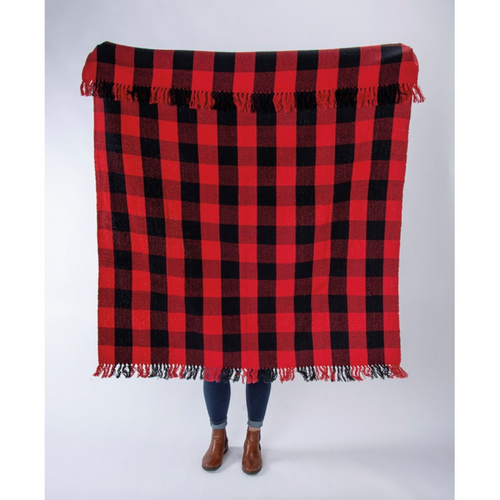 Classic Red & Black Buffalo Check Cotton Lap Blanket - A