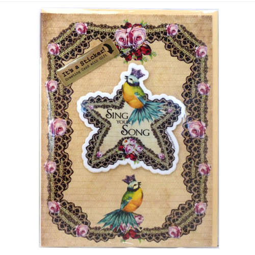 """""""Sing Your Song"""" Greeting Card with Detachable Vinyl Sticker - B"""