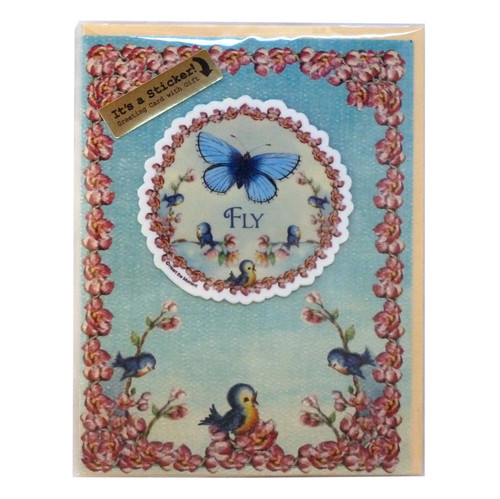 """""""FLY"""" Uplifting Greeting Card with Detachable Vinyl Sticker - B"""